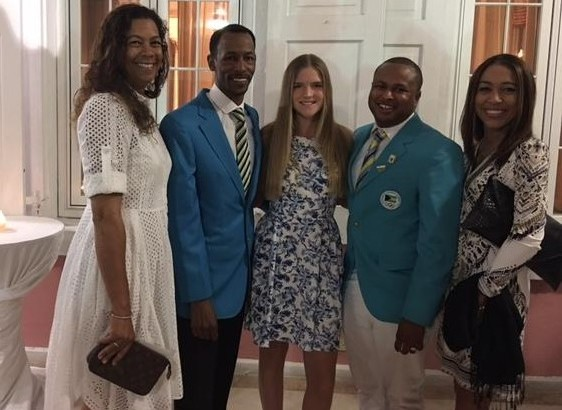 At the Government House Awards ceremony: L-R: Erika Adderley-Coello, Trainer; Mr. Timothy Munnings, Director of Sports; Lila Nottage, Nominee; Mr. Derron Donaldson, Secretary-General, Bahamas Olympic Committee; Cathy Ramsingh-Pierre, President, Equestrian Bahamas.