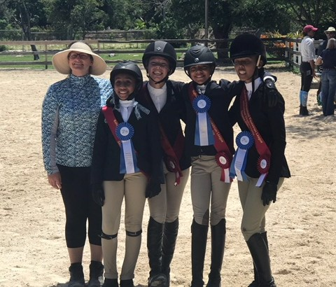Queens College won the team event on the day and placed second overall in the Championship. From L-R: Team coach Kim Johnson, Hannah D'Aguilar, Peyton Wong, Mila Sands, Molly McIntosh.